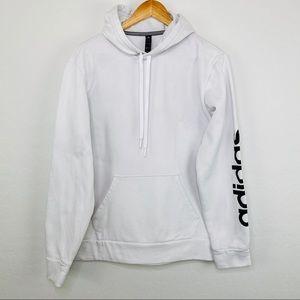 Adidas white hoodie logo on sleeve small